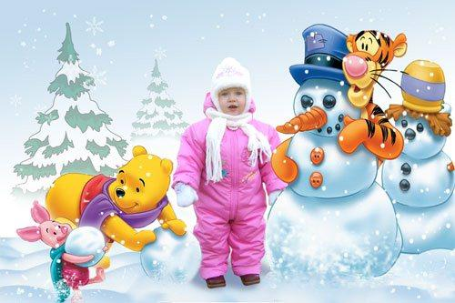 Kid template PSD - Winter with Winnie the Pooh