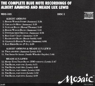 (Boogie-Woogie) Albert Ammons & Meade Lux Lewis — The Complete Blue Note Recordings Of Albert Ammons And Meade Lux Lewis (2 CDs) — 1989 {Mosaic, MD2-103}, FLAC (tracks+.cue), lossless