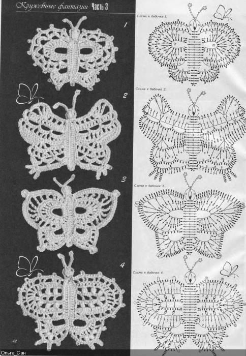 Вязание крючком бабочки со схемами фото