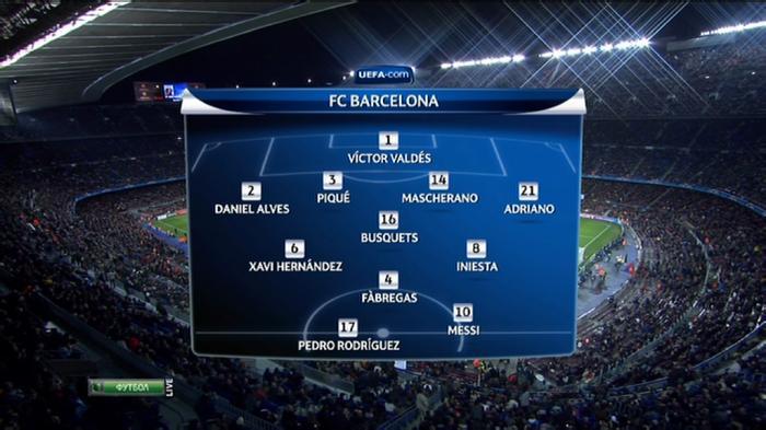 Лига Чемпионов 2011-12 / 1/8 финала / Ответный матч / Барселона (Испания) - Байер (Германия) / НТВ+